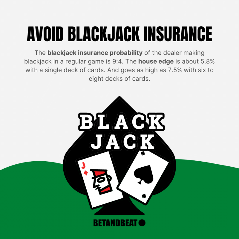 blackjack insurance odds are against players!
