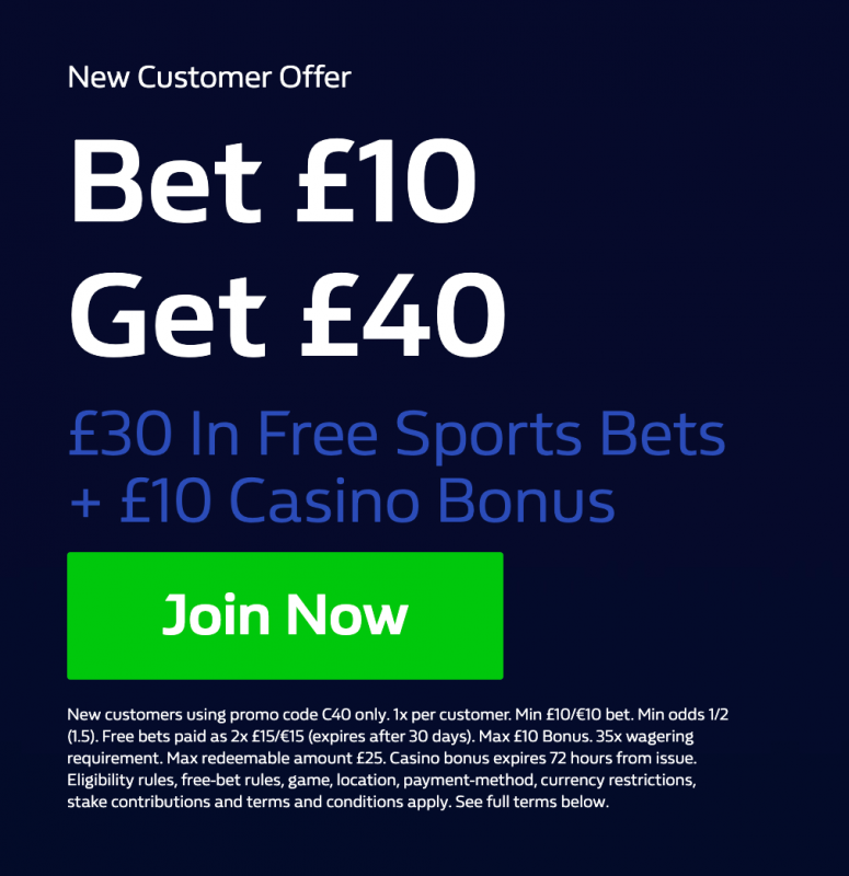 Example of a free bet offer from William Hill (screenshot).