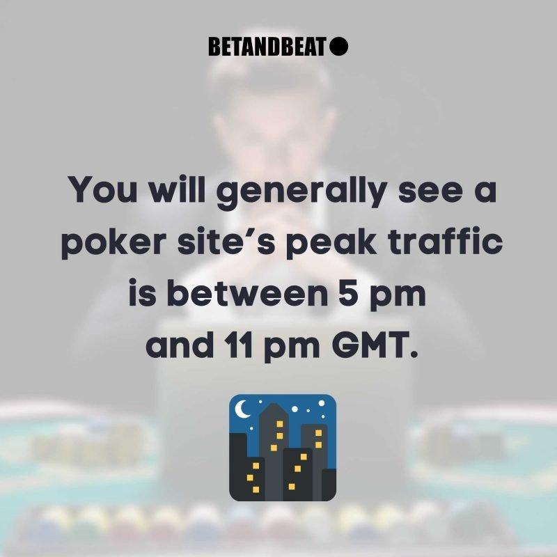 peak time for online poker
