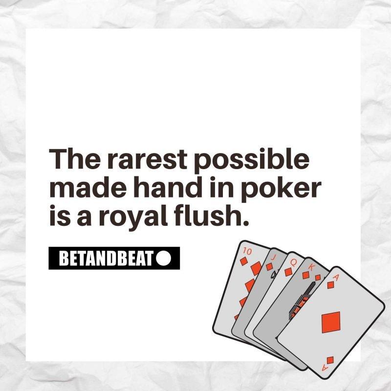 Royal Flush is the rarest poker hand.