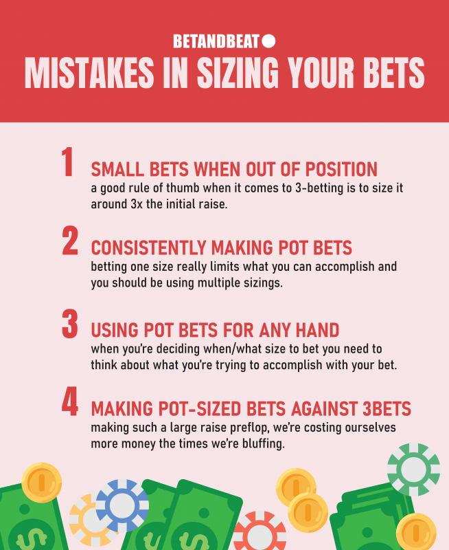 Mistakes when sizing bets in poker.