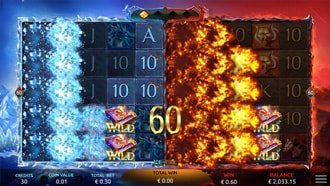 Shared Wilds Feature from Yggdrasil's Ice & Fire slot game.
