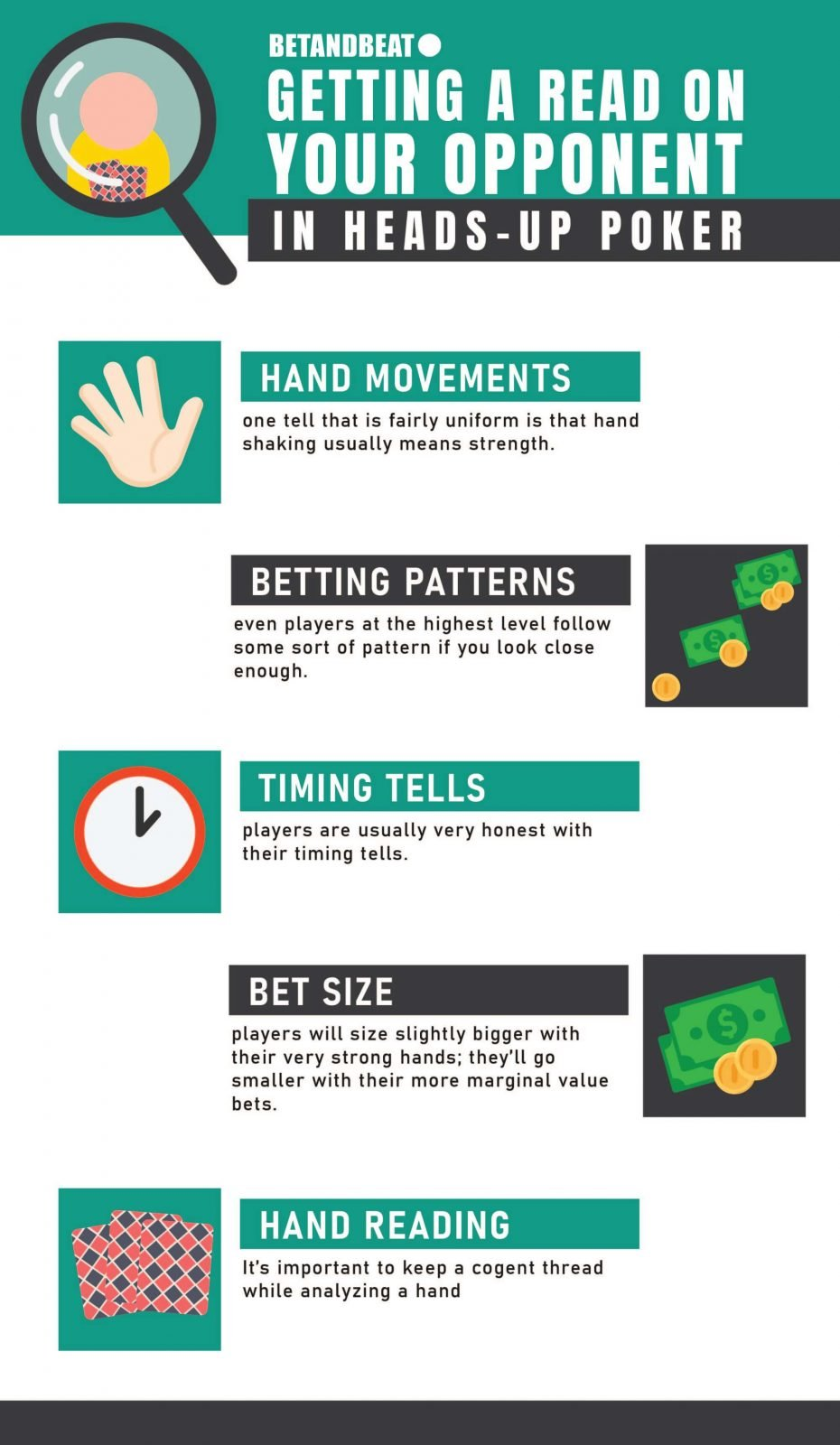 A list of tells to look out for in heads-up poker